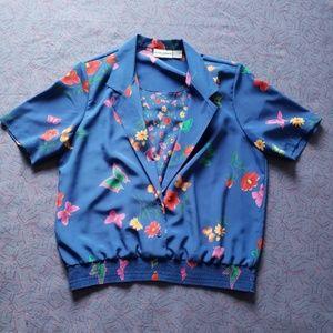 80's vintage alfred dunner floral top